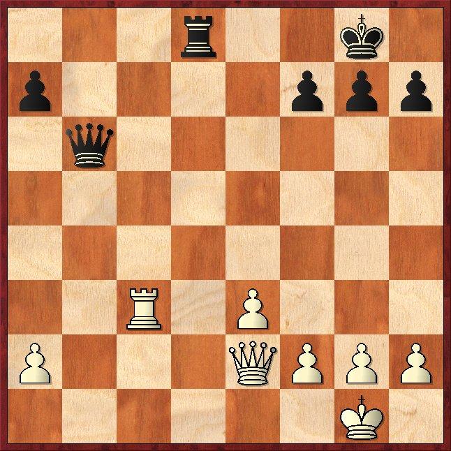 Bernstein - Capablanca (1914)  1. ... Db2! 2.Dxb2 (2.Tc2 Db1+ 3.Df1 Dxc2 nebst 4. ... Td1 ) 2. ... Td1# Schachfreunde Frankfurt 1921 e.V.