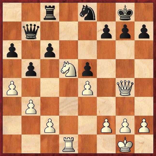 Springergabel: 1.Dxc8 Dxc8 2.Se7+ Kf8 3.Sxc8 +- Schachfreunde Frankfurt 1921 e.V.